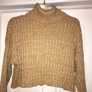 Cropped mustard yellow & white turtleneck sweater